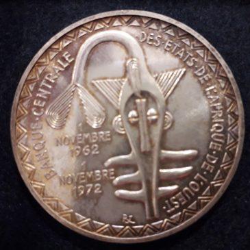 AFRICA DEL OESTE 500 FRANCOS 1972 EBC PLATA