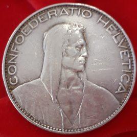 5 FRANCOS SUIZOS 1926 PLATA MBC