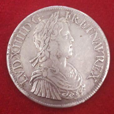 Francia Ecu de plata de Luis XIV 1653 A MBC+