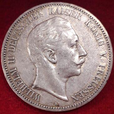 5 MARCOS ALEMANIA 1904 ESTADO DE PRUSIA MBC+ PLATA