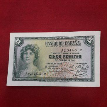 5 Pesetas 1935 Serie A República Española EBC