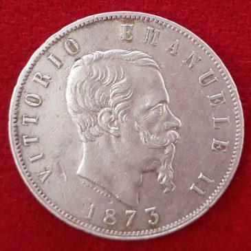 5 Liras de Plata Victor Emanuel II1873 Milano Italia MBC