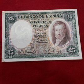 25 Pesetas Vicente Lopez 1931 sin serie