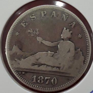 2 Pesetas Plata España 1870 BC