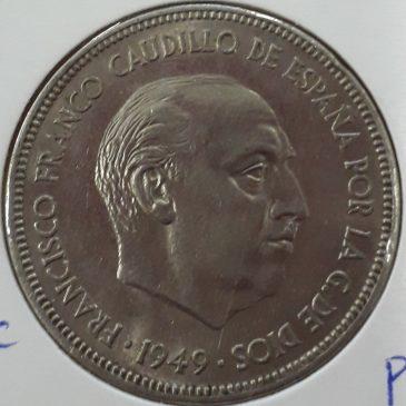 5 pesetas Franco 1949 calidad EBC