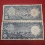 BILLETES – ANTILLAS HOLANDESAS – 5 GULDEN 2-1-1962/ 1 CON SERIE A OTRO SIN SERIE