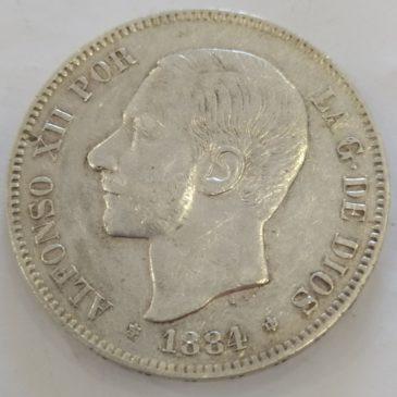 España Duro 5 Pesetas – Alfonso XII 1884 *84 MSM