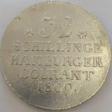 Hamburgo 32 schilling, 1809 plata