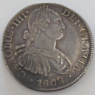 ESPAÑA 8 REALES CARLOS IV 1802 F.T. MEXICO  PALTA
