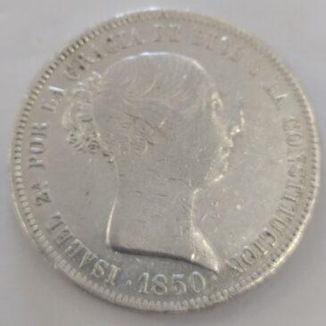20 REALES ISABEL II 1850 C.L. CECA DE MADRID ESPAÑA PLATA (MBC)