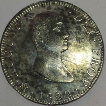 8 REALES DE PLATA, MEXICO Agustín Iturbide 1822- JM  (R2)